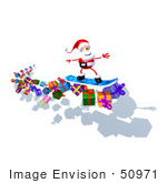 #50971 Royalty-Free (Rf) Illustration Of A 3d Santa Claus Snowboarding On Gifts - Version 1