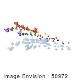#50972 Royalty-Free (Rf) Illustration Of A 3d Santa Claus And Reindeer Flying Over Gifts - Version 6