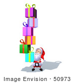 #50973 Royalty-Free (Rf) Illustration Of A 3d Santa Claus Carrying Stacked Gifts - Version 6