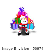 #50974 Royalty-Free (Rf) Illustration Of A 3d Santa Claus Standing In Front Of A Stack Of Presents - Version 3