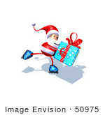 #50975 Royalty-Free (Rf) Illustration Of A 3d Santa Claus Inline Skating With A Gift - Version 4