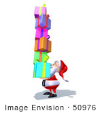 #50976 Royalty-Free (Rf) Illustration Of A 3d Santa Claus Carrying Stacked Gifts - Version 8