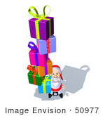 #50977 Royalty-Free (Rf) Illustration Of A 3d Santa Claus Carrying Stacked Gifts - Version 10