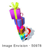 #50978 Royalty-Free (Rf) Illustration Of A 3d Santa Claus Carrying Stacked Gifts - Version 9