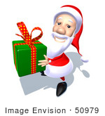 #50979 Royalty-Free (Rf) Illustration Of A 3d Santa Claus Carrying A Green Gift - Version 4