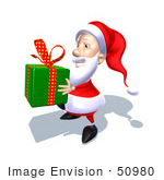 #50980 Royalty-Free (Rf) Illustration Of A 3d Santa Claus Carrying A Green Gift - Version 3
