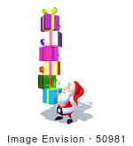 #50981 Royalty-Free (Rf) Illustration Of A 3d Santa Claus Carrying Stacked Gifts - Version 7