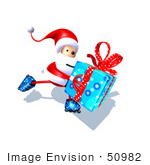#50982 Royalty-Free (Rf) Illustration Of A 3d Santa Claus Inline Skating With A Gift - Version 3
