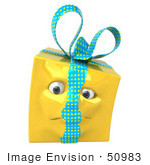 #50983 Royalty-Free (Rf) Illustration Of A Yellow 3d Present Mascot - Version 5
