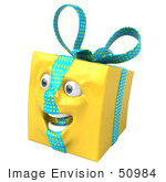 #50984 Royalty-Free (Rf) Illustration Of A Yellow 3d Present Mascot - Version 3