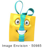 #50985 Royalty-Free (Rf) Illustration Of A Yellow 3d Present Mascot - Version 1