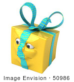 #50986 Royalty-Free (Rf) Illustration Of A Yellow 3d Present Mascot - Version 4