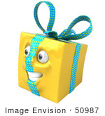 #50987 Royalty-Free (Rf) Illustration Of A Yellow 3d Present Mascot - Version 2