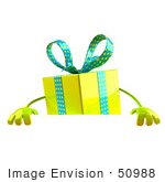 #50988 Royalty-Free (Rf) Illustration Of A 3d Yellow Present Character Standing Behind A Blank Sign - Version 1