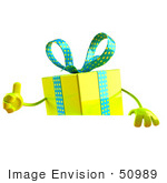 #50989 Royalty-Free (Rf) Illustration Of A 3d Yellow Present Character Standing Behind A Blank Sign - Version 2