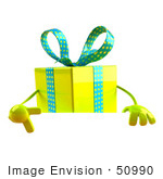 #50990 Royalty-Free (Rf) Illustration Of A 3d Yellow Present Character Standing Behind A Blank Sign - Version 3