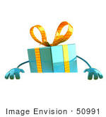 #50991 Royalty-Free (Rf) Illustration Of A 3d Blue Present Character Standing Behind A Blank Sign - Version 1
