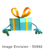 #50992 Royalty-Free (Rf) Illustration Of A 3d Blue Present Character Standing Behind A Blank Sign - Version 3