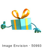 #50993 Royalty-Free (Rf) Illustration Of A 3d Blue Present Character Standing Behind A Blank Sign - Version 2
