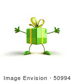 #50994 Royalty-Free (Rf) Illustration Of A 3d Green Present Character With Open Arms - Version 1