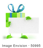 #50995 Royalty-Free (Rf) Illustration Of A 3d Green Present Character Holding A Blank Business Card