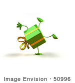#50996 Royalty-Free (Rf) Illustration Of A 3d Green Present Character Doing A Cartwheel - Version 1