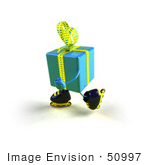 #50997 Royalty-Free (Rf) Illustration Of A 3d Blue Present Character Inline Skating - Version 1