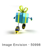 #50998 Royalty-Free (Rf) Illustration Of A 3d Blue Present Character Inline Skating - Version 3