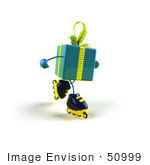 #50999 Royalty-Free (Rf) Illustration Of A 3d Blue Present Character Inline Skating - Version 2