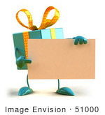 #51000 Royalty-Free (Rf) Illustration Of A 3d Blue Present Character Holding A Blank Business Card - Version 2