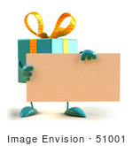 #51001 Royalty-Free (Rf) Illustration Of A 3d Blue Present Character Holding A Blank Business Card - Version 1