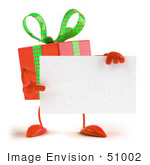 #51002 Royalty-Free (Rf) Illustration Of A 3d Red Present Character Holding A Blank Business Card