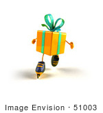 #51003 Royalty-Free (Rf) Illustration Of A 3d Yellow Present Character Inline Skating - Version 3