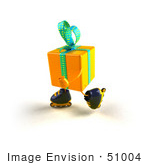 #51004 Royalty-Free (Rf) Illustration Of A 3d Yellow Present Character Inline Skating - Version 1