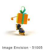 #51005 Royalty-Free (Rf) Illustration Of A 3d Yellow Present Character Inline Skating - Version 2