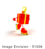 #51006 Royalty-Free (Rf) Illustration Of A 3d Red Present Character Inline Skating - Version 2