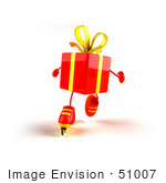 #51007 Royalty-Free (Rf) Illustration Of A 3d Red Present Character Inline Skating - Version 1