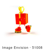 #51008 Royalty-Free (Rf) Illustration Of A 3d Red Present Character Inline Skating - Version 3