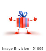 #51009 Royalty-Free (Rf) Illustration Of A 3d Orange Present Character With Open Arms