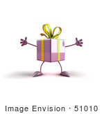 #51010 Royalty-Free (Rf) Illustration Of A 3d Purple Present Character With Open Arms - Version 1