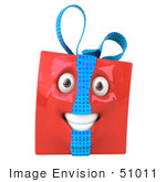 #51011 Royalty-Free (Rf) Illustration Of A Red 3d Present Mascot