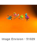#51029 Royalty-Free (Rf) Illustration Of A Group Of Four 3d Present Characters Snowboarding - Version 1