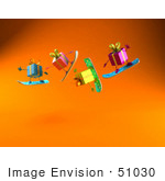#51030 Royalty-Free (Rf) Illustration Of A Group Of Four 3d Present Characters Snowboarding - Version 3