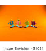 #51031 Royalty-Free (Rf) Illustration Of A Group Of Four 3d Present Characters Snowboarding - Version 2