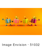 #51032 Royalty-Free (Rf) Illustration Of A Line Of Four 3d Present Characters Facing Front And Holding Hands - Version 1