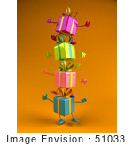 #51033 Royalty-Free (Rf) Illustration Of A Group Of Four 3d Present Characters Standing On Top Of Each Other - Version 4