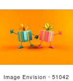#51042 Royalty-Free (Rf) Illustration Of Two 3d Present Characters Holding Hands - Version 2