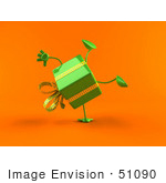 #51090 Royalty-Free (Rf) Illustration Of A 3d Green Present Character Doing A Cartwheel - Version 2