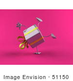 #51150 Royalty-Free (Rf) Illustration Of A 3d Purple Present Character Doing A Cartwheel - Version 2