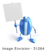 #51264 Royalty-Free (Rf) Illustration Of A 3d Wireless Blue Computer Mouse Mascot Holding Up A Blank Sign - Version 1